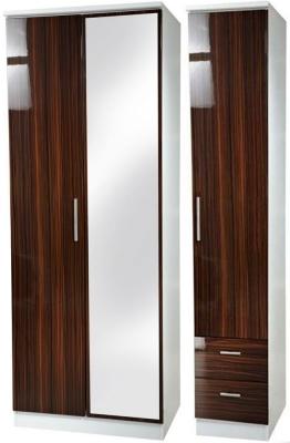 Knightsbridge Ebony Triple Wardrobe with Mirror and 2 Drawer