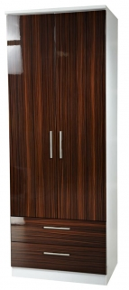 Knightsbridge Ebony Wardrobe - Tall 2ft 6in 2 Drawer