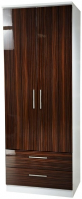 Knightsbridge Ebony Wardrobe - Tall 2ft 6in with 2 Drawer