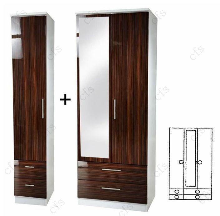 Knightsbridge Ebony 3 Door Combi Wardrobe with Drawer and Mirror