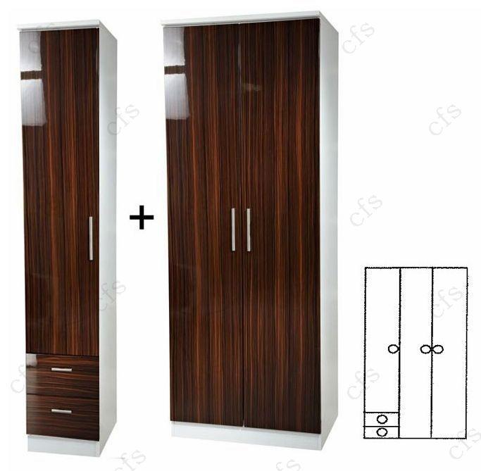 Knightsbridge Ebony 3 Door Plain Wardrobe with Drawer