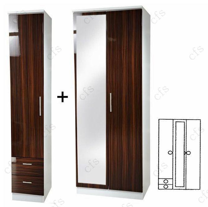 Knightsbridge Ebony 3 Door Wardrobe with Mirror and Drawer
