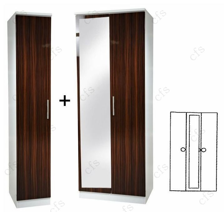 Knightsbridge Ebony 3 Door Wardrobe with Mirror