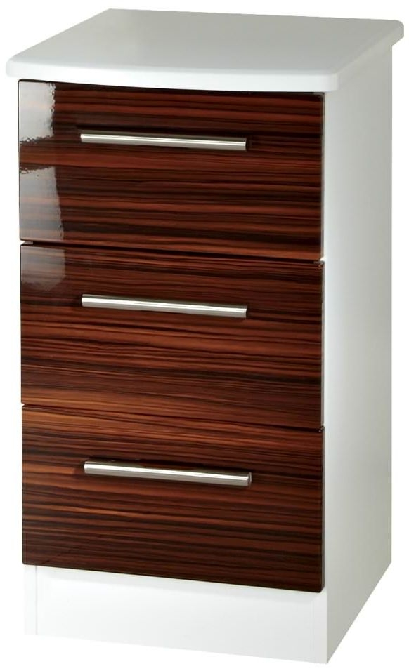 Knightsbridge Ebony Bedside Cabinet - 3 Drawer Locker