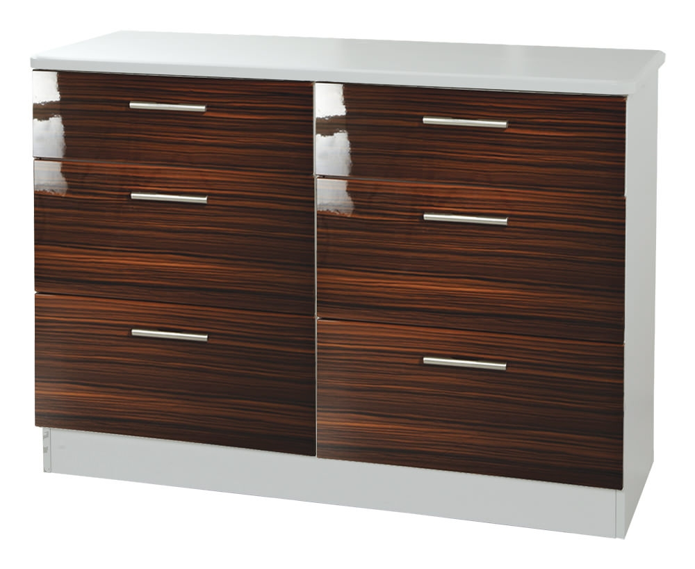 Knightsbridge Ebony Chest of Drawer - 6 Drawer Midi
