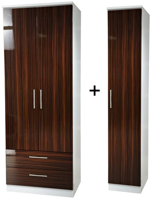 Knightsbridge Ebony Tall Triple 2 Drawer Wardrobe