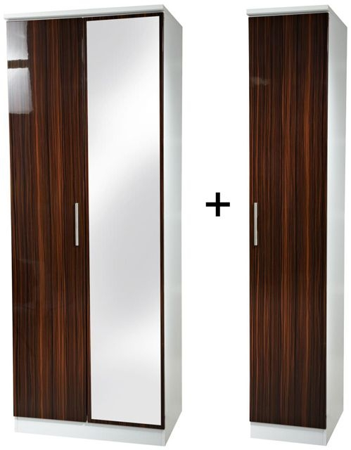 Knightsbridge Ebony Tall Triple Mirror Wardrobe
