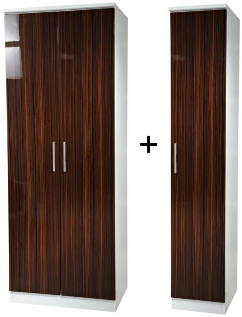 Knightsbridge Ebony Tall Triple Plain Wardrobe