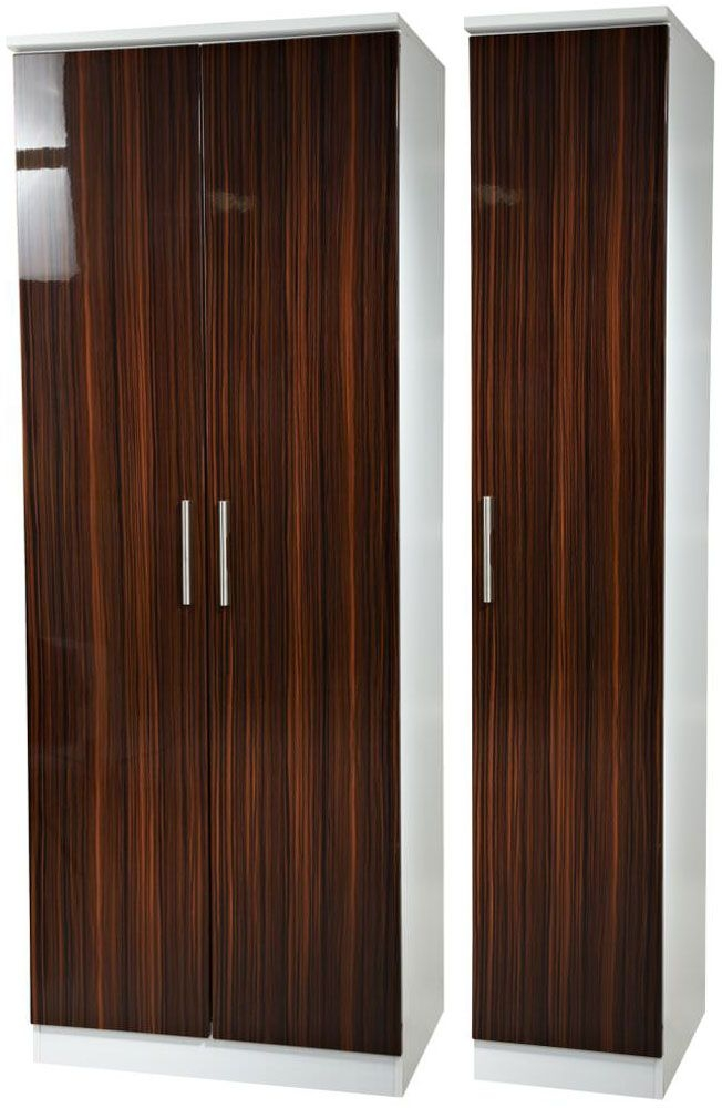 Knightsbridge Ebony Triple Wardrobe - Tall Plain