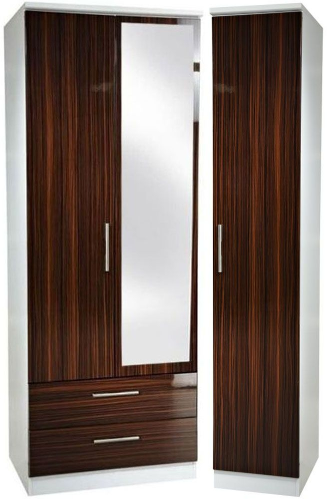 Knightsbridge Ebony Triple Wardrobe - Tall with 2 Drawer and Mirror