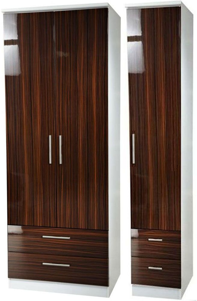 Knightsbridge Ebony Triple Wardrobe - Tall with Drawer