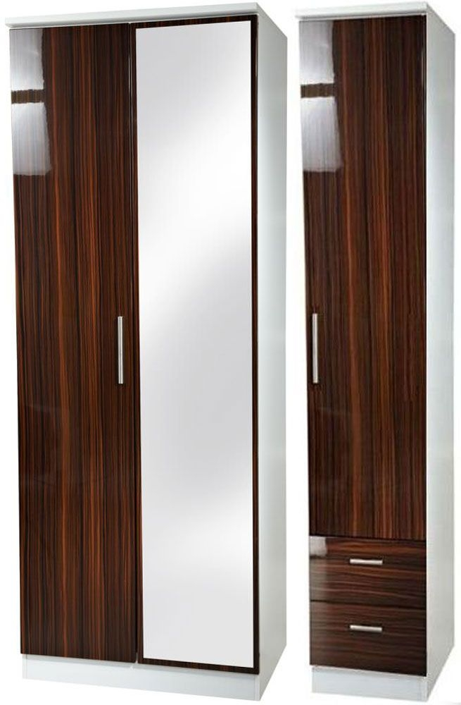 Knightsbridge Ebony Triple Wardrobe - Tall with Mirror and 2 Drawer