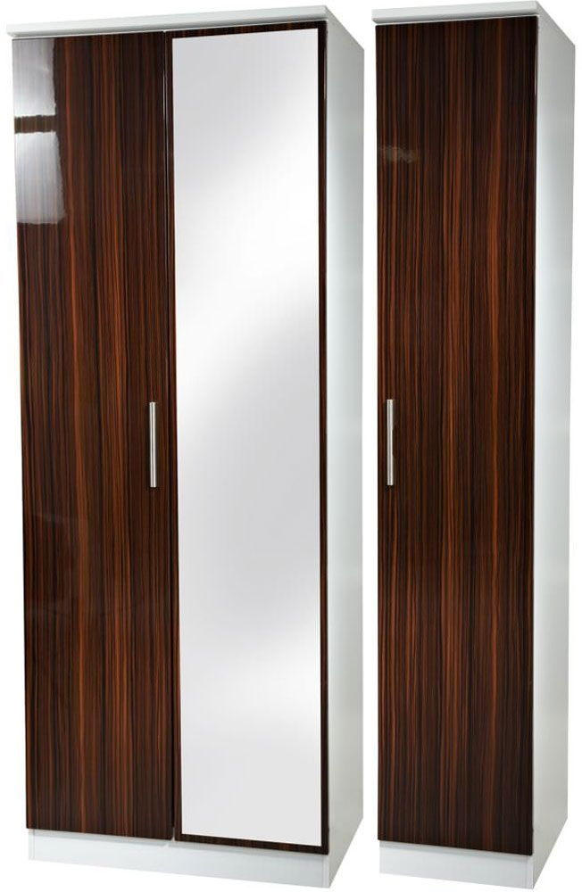 Knightsbridge Ebony Triple Wardrobe - Tall with Mirror