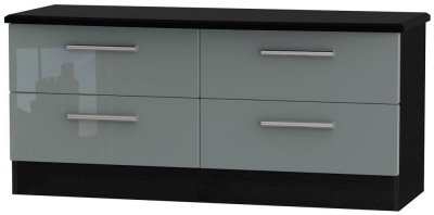 Knightsbridge Bed Box - High Gloss Grey and Black