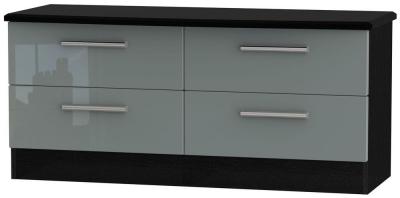 Knightsbridge High Gloss Grey and Black Bed Box - 4 Drawer