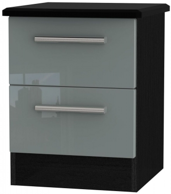 Knightsbridge High Gloss Grey and Black Bedside Cabinet - 2 Drawer Locker