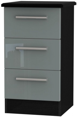Knightsbridge 3 Drawer Bedside Cabinet - High Gloss Grey and Black