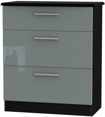 Knightsbridge 3 Drawer Deep Chest - High Gloss Grey and Black