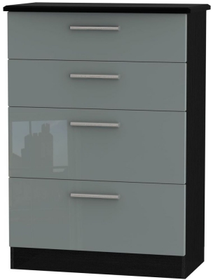 Knightsbridge 4 Drawer Deep Chest - High Gloss Grey and Black