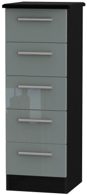 Knightsbridge 5 Drawer Tall Chest - High Gloss Grey and Black