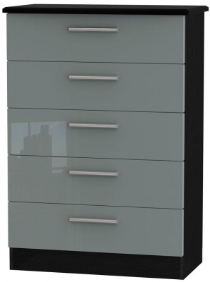 Knightsbridge 5 Drawer Chest - High Gloss Grey and Black