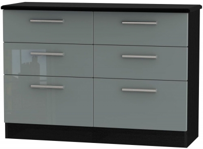 Knightsbridge 6 Drawer Midi Chest - High Gloss Grey and Black