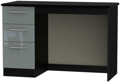Knightsbridge High Gloss Grey and Black Desk - 3 Drawer