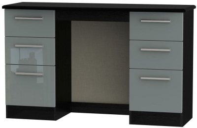 Knightsbridge High Gloss Grey and Black Dressing Table - Knee Hole Double Pedestal