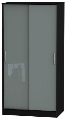 Knightsbridge 2 Door Sliding Wardrobe - High Gloss Grey and Black