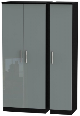 Knightsbridge 3 Door Wardrobe - High Gloss Grey and Black