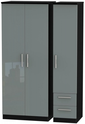 Knightsbridge 3 Door 2 Right Drawer Wardrobe - High Gloss Grey and Black