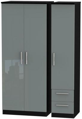 Knightsbridge High Gloss Grey and Black Triple Wardrobe - Plain with 2 Drawer