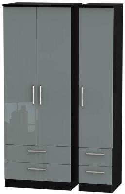 Knightsbridge 3 Door 4 Drawer Tall Wardrobe - High Gloss Grey and Black
