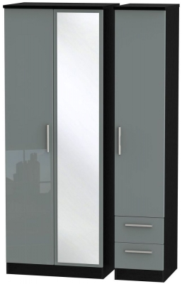 Knightsbridge 3 Door 2 Right Drawer Tall Combi Wardrobe - High Gloss Grey and Black