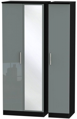 Knightsbridge 3 Door Tall Mirror Wardrobe - High Gloss Grey and Black