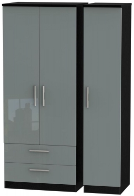 Knightsbridge High Gloss Grey and Black Triple Wardrobe with 2 Drawer