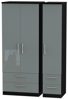 Knightsbridge High Gloss Grey and Black Triple Wardrobe with Drawer