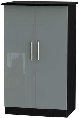 Knightsbridge 2 Door Midi Wardrobe - High Gloss Grey and Black