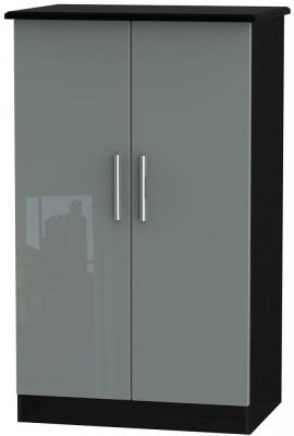 Knightsbridge High Gloss Grey and Black Wardrobe - 2ft 6in Plain Midi