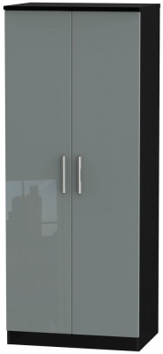 Knightsbridge 2 Door Wardrobe - High Gloss Grey and Black