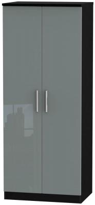Knightsbridge High Gloss Grey and Black Wardrobe - 2ft 6in Plain