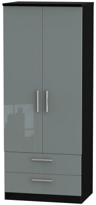 Knightsbridge 2 Door 2 Drawer Wardrobe - High Gloss Grey and Black
