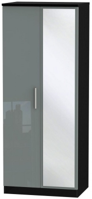 Knightsbridge High Gloss Grey and Black Wardrobe - 2ft 6in with Mirror