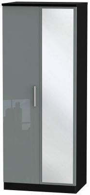 Knightsbridge 2 Door Mirror Wardrobe - High Gloss Grey and Black