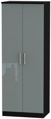 Knightsbridge 2 Door Tall Wardrobe - High Gloss Grey and Black