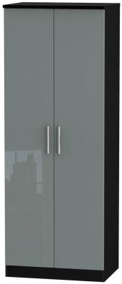 Knightsbridge High Gloss Grey and Black Wardrobe - Tall 2ft 6in Plain