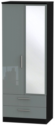 Knightsbridge High Gloss Grey and Black Wardrobe - Tall 2ft 6in with 2 Drawer and Mirror