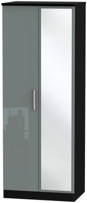 Knightsbridge High Gloss Grey and Black Wardrobe - Tall 2ft 6in with Mirror