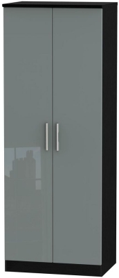 Knightsbridge 2 Door Tall Hanging Wardrobe - High Gloss Grey and Black