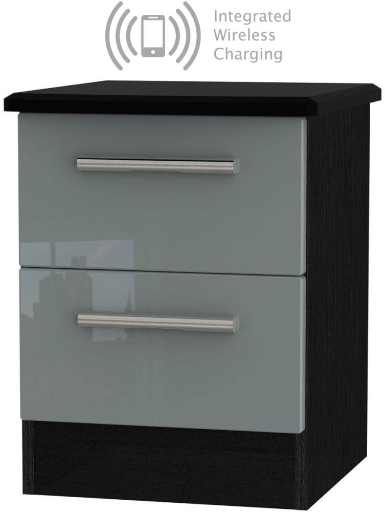 Knightsbridge 2 Drawer Bedside Cabinet with Integrated Wireless Charging - High Gloss Grey and Black